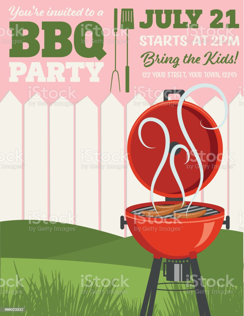 bbq party invitation template stock vector art more images of