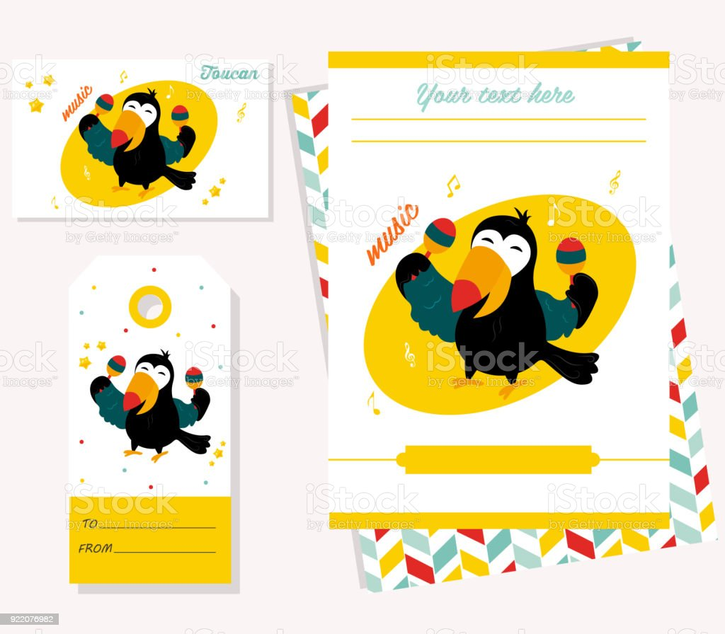 Party invitation template with funny cartoon toucan arte vetorial party invitation template with funny cartoon toucan party invitation template with funny cartoon toucan stopboris Choice Image