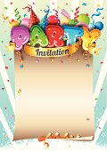 Party shaped balloons, ribbon and confetti on empty parchment. Ideal for Party, New Year's Eve or other event celebration invitation.