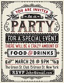 Hand drawn party invitation.File is layered with global colors.High res jpeg included.More works like this linked below.