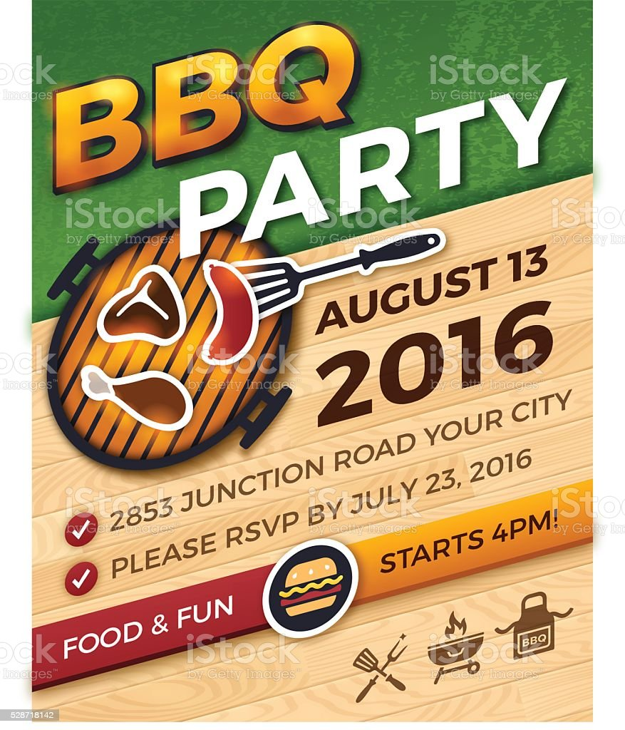 BBQ Party Invitation vector art illustration