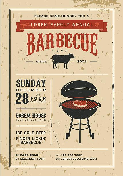 ilustraciones, imágenes clip art, dibujos animados e iconos de stock de vintage invitación de barbacoa - fiesta en el jardín
