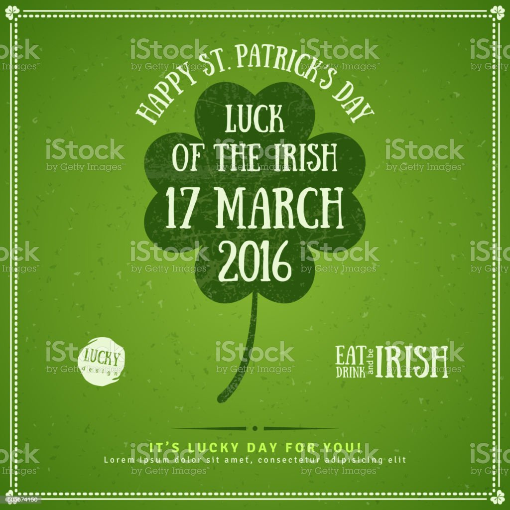 Party Invitation with Four Leaf Clover Emblem