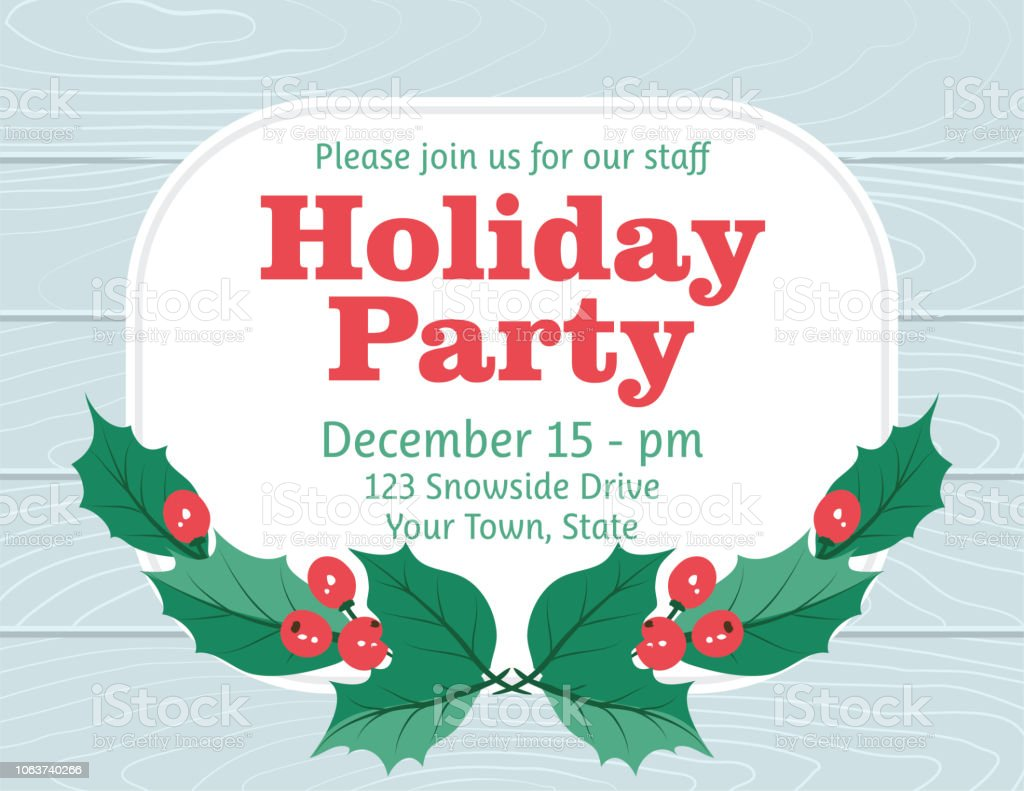 Party Invitation With Holly And berries vector art illustration