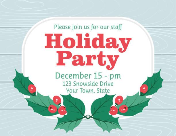 party invitation with holly and berries - office party stock illustrations, clip art, cartoons, & icons