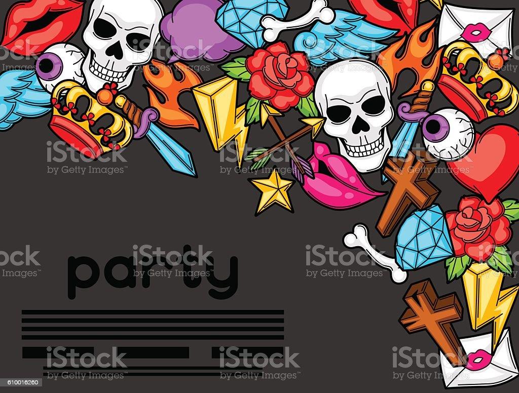 Party Invitation With Retro Tattoo Symbols Cartoon Old School ...