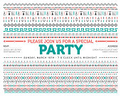 Party invite with tribal pattern illustration.
