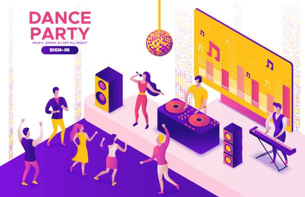 Party isometrischeKonzept, DJ spielen Club Disco Musik, 3D Vektor-Illustration, tanzende Menschen, Nachtclub, Tanzmusik, Urlaub Event Poster, Corporate Gig, violett, gelb, rosa, Clubbing Cartoon Männer – Vektorgrafik