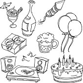 Party item in sketch style, Black and White