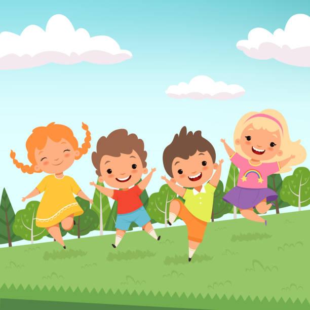 ilustrações, clipart, desenhos animados e ícones de festa jummping caracteres. bonito para crianças felizes pular e brincar no parque infantil ou personagens de desenhos animados do parque urbano vector isolado - brincadeira