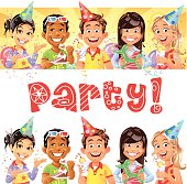 Five cheerful children celebrating a party + handwritten text 'Party!'. Can be used as banner or isolated objects. EPS 8, fully editable, grouped and all labeled in layers.