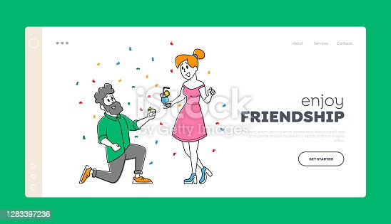istock Party Landing Page Template. Friends Meeting, Corporate. Young Woman and Man Characters Clinking Glasses with Drink 1283397236