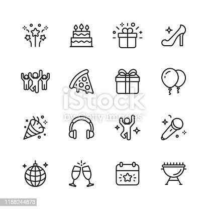 istock Party Line Icons. Editable Stroke. Pixel Perfect. For Mobile and Web. Contains such icons as Party, Decoration, Disco Ball, Dancing, Nightlife. 1158244873