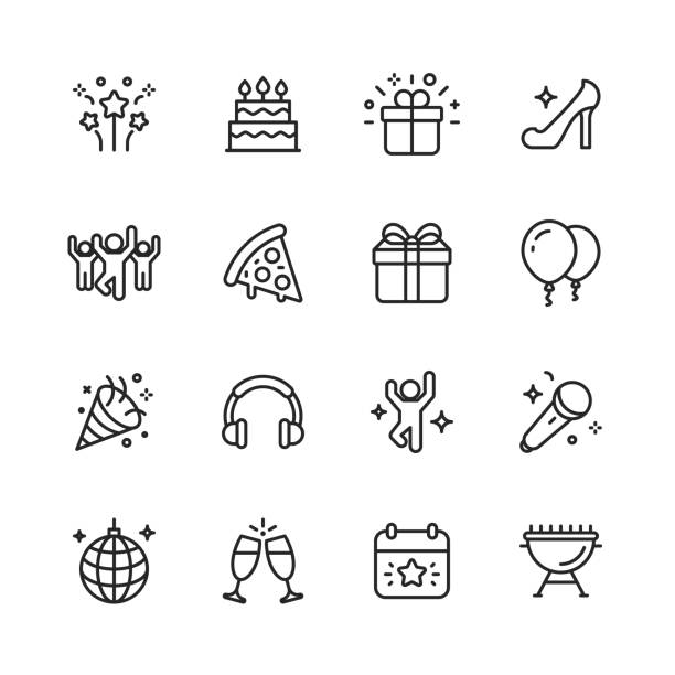 Party Line Icons. Editable Stroke. Pixel Perfect. For Mobile and Web. Contains such icons as Party, Decoration, Disco Ball, Dancing, Nightlife. 16 Party Outline Icons. cake stock illustrations