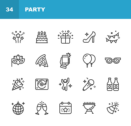 Party Line Icons. Editable Stroke. Pixel Perfect. For Mobile and Web. Contains such icons as Party, Decoration, Disco Ball, Dancing, Nightlife, Selfie, Fast Food, Beer, Glasses, Gift, Cake.