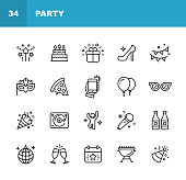 istock Party Line Icons. Editable Stroke. Pixel Perfect. For Mobile and Web. Contains such icons as Party, Decoration, Disco Ball, Dancing, Nightlife, Selfie, Fast Food, Beer, Glasses, Gift, Cake. 1158832102