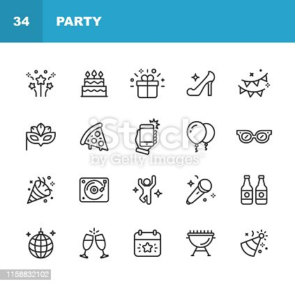 20 Party Outline Icons.