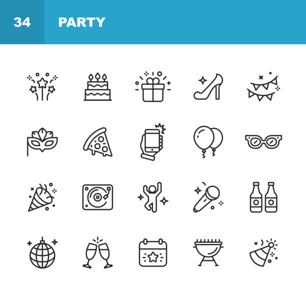 Party Line Icons. Editable Stroke. Pixel Perfect. For Mobile and Web. Contains such icons as Party, Decoration, Disco Ball, Dancing, Nightlife, Selfie, Fast Food, Beer, Glasses, Gift, Cake. 20 Party Outline Icons. celebration stock illustrations