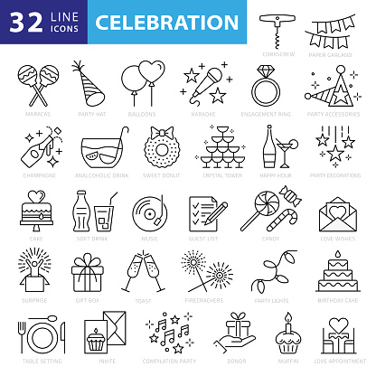 Party Line Icons. Editable Stroke. Pixel Perfect. For Mobile and Web. Contains such icons as Party, Decoration, Disco Ball, Dancing, Nightlife, Selfie, Fast Food, Beer, Glasses, Gift, Cake
