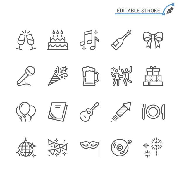 ikony linii partyjnej. edytowalne obrys. piksel idealny. - ciasto stock illustrations