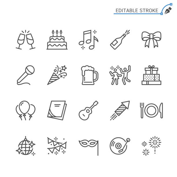 Party line icons. Editable stroke. Pixel perfect. Simple vector line Icons. Editable stroke. Pixel perfect. celebration stock illustrations