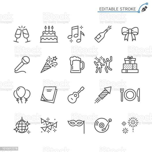 Party Line Icons Editable Stroke Pixel Perfect — стоковая векторная графика и другие изображения на тему Бокал для шампанского