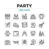 Party line icons set. Modern outline elements, graphic design concepts. Stroke, linear style. Simple symbols collection. Vector line icons