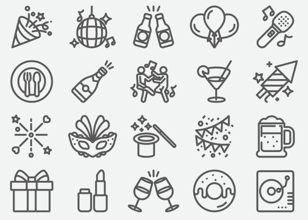 party line icons - alcohol drink icons stock illustrations