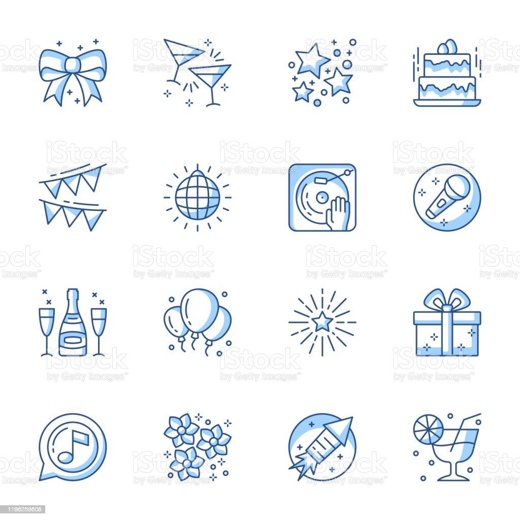 Party linear icons set. Entertainment and recreation contour symbols isolated pack. - Grafika wektorowa royalty-free (Akcesorium osobiste)