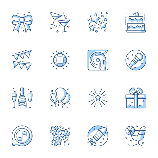 Party linear icons set. Entertainment and recreation contour symbols isolated pack. vector art illustration