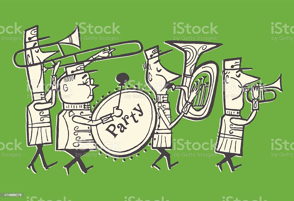 Party Marching Band vector art illustration