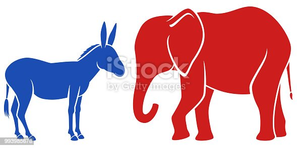 Vector illustration of a blue donkey and a red elephant, representing the Democratic and Republican political parties in the United States. The donkey and elephant are on separate layers, easily separated in a program like Illustrator, etc. Illustration uses no gradients, meshes or blends, only solid color. Includes AI10-compatible .eps format, along with a high-res .jpg.