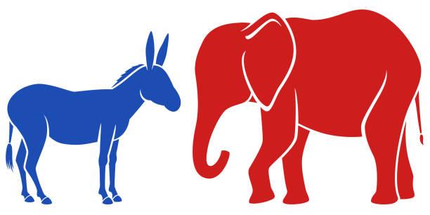 ilustrações de stock, clip art, desenhos animados e ícones de party mascots - democracy illustration