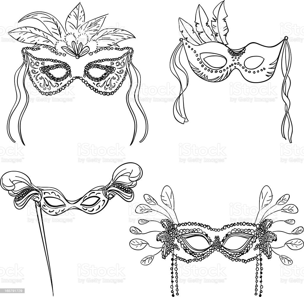 Party masks in black and white vector art illustration