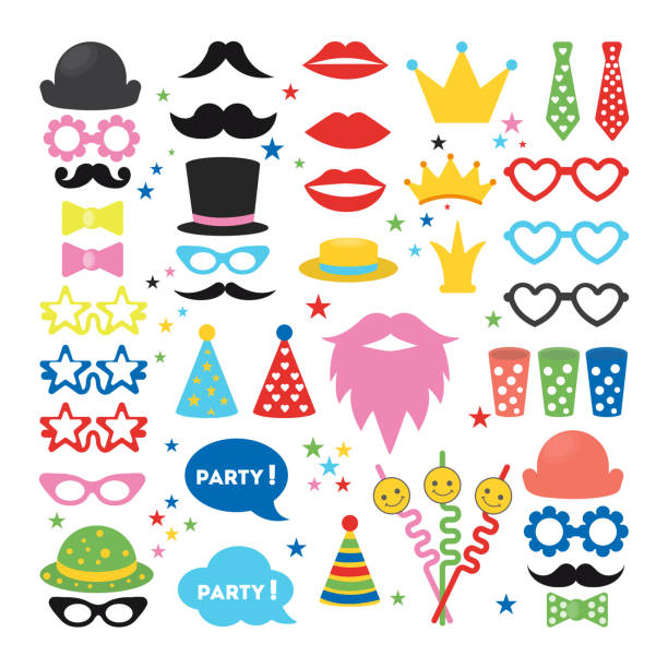 party masks set. - photo booth stock illustrations, clip art, cartoons, & icons