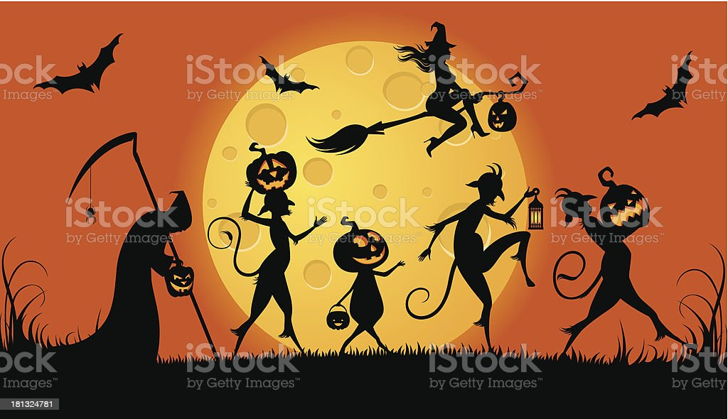 Party monsters for Halloween royalty-free stock vector art