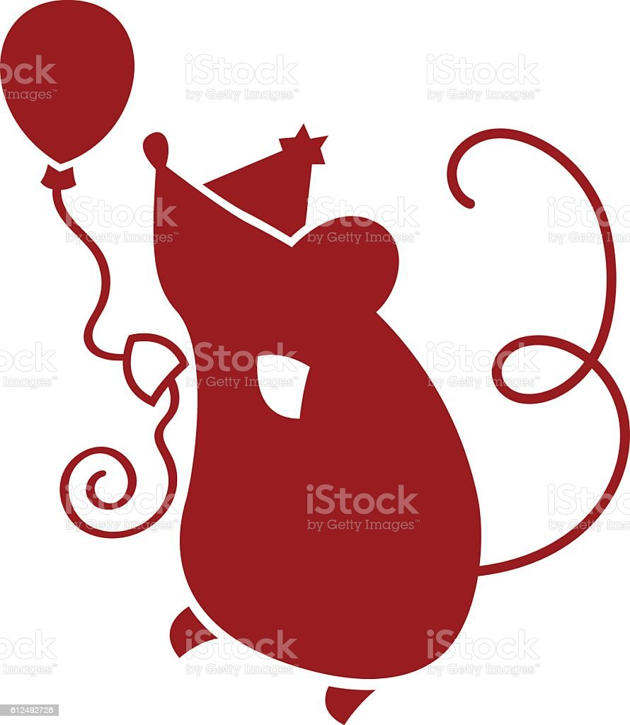 Party Mouse vector art illustration