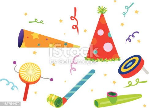 A variety of colorful noisemakers in an editable vector file.