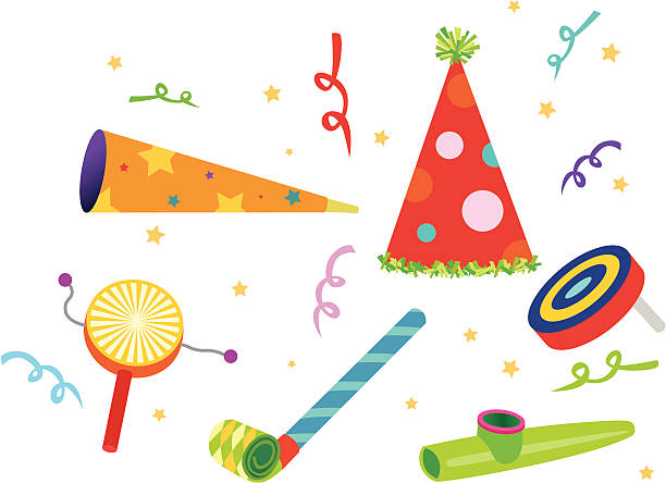stockillustraties, clipart, cartoons en iconen met party noisemakers - blaasinstrument