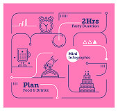 Vector Infographic Line Design Elements for Party Organisation