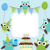 Vector birthday party card with cute owls in blue for boys