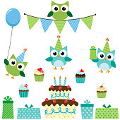 Vector birthday party set with cute owls in blue for boys