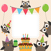 Vector birthday party card with cute owls