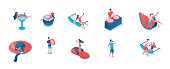 Party people 3d isometric isolated set, woman in swimsuit, men drinking and taking selfies, cartoon summer event background elements, pool holiday concept