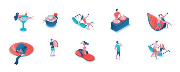 Partyleute 3d isometrisch isoliertes Set, Frau im Badeanzug, Männer trinken und nehmen Selfies, Cartoon Sommer-Event-Hintergrundelemente, Pool-Urlaubskonzept – Vektorgrafik