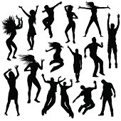 Collection of party people silhouettes, isolated from background.
