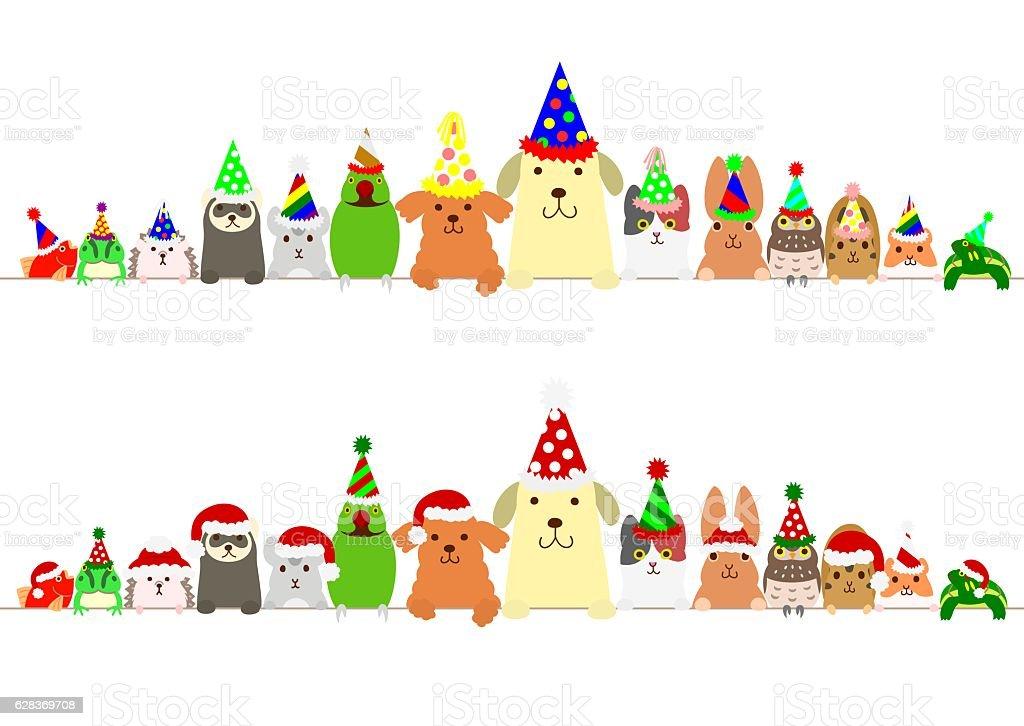 party pet animals border set vector art illustration