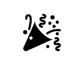 istock Party popper icon. Isolated Party popper symbol - Vector 1287458193