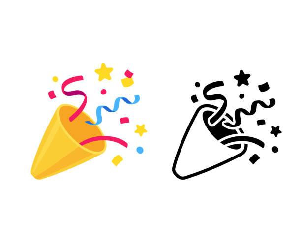 ilustraciones, imágenes clip art, dibujos animados e iconos de stock de el icono de popper - fiesta