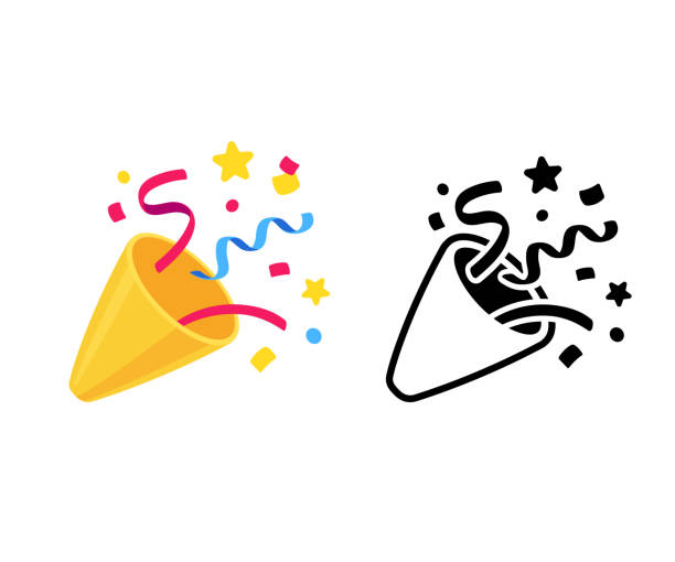 Party popper icon Party popper with confetti, cartoon emoji and black and white icon. Isolated vector illustration of birthday cracker symbol. celebration stock illustrations